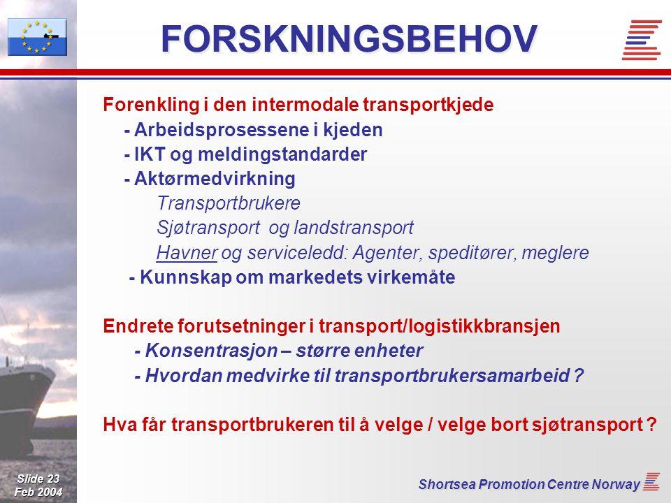 Slide 23 Feb 2004 Shortsea Promotion Centre Norway FORSKNINGSBEHOV Forenkling i den intermodale transportkjede - Arbeidsprosessene i kjeden - IKT og meldingstandarder - Aktørmedvirkning Transportbrukere Sjøtransport og landstransport Havner og serviceledd: Agenter, speditører, meglere - Kunnskap om markedets virkemåte Endrete forutsetninger i transport/logistikkbransjen - Konsentrasjon – større enheter - Hvordan medvirke til transportbrukersamarbeid .