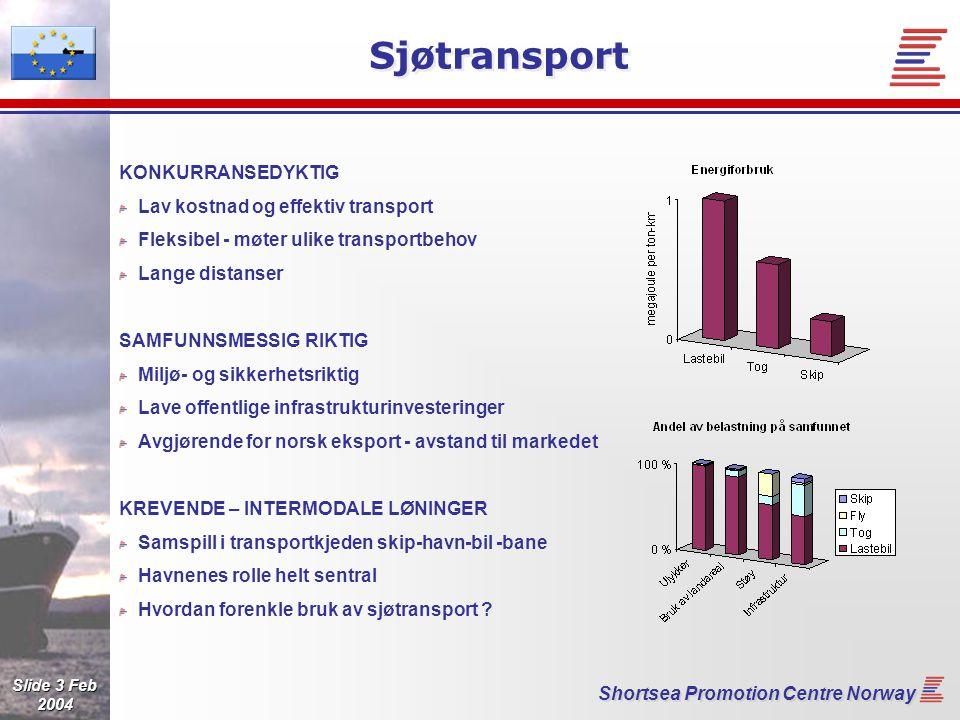 Slide 4 Feb 2004 Shortsea Promotion Centre Norway Norge med i et integrert samarbeid med EU EU transport policy -> EU DG TREN Short Sea Unit Norge med på lik linje med EU-landene Nasjonale myndighetskontakter – Focal Points Oppgave: Koordinere på nasjonalt nivå - Norsk FoP: NHD og FKD Kartlegging av hindringer for sjøtransporten Identifisert hindring Sjøtransporten har et uheldig image.