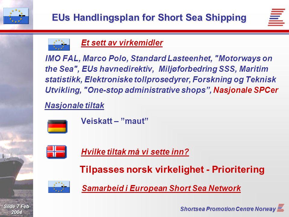 Slide 8 Feb 2004 Shortsea Promotion Centre Norway European Short Sea Network (ESN) Samarbeid mellom de nasjonale initiativ SPC Norway assosiert - i praksis fullt med Roterende ledelse - nå Holland Fellesprosjekter - finansiell støtte fra EU - Europeisk Linjedatabase - Støtte til nye SPC etc - Norsk initiativ: Meldingstandarder - IT-løsninger Samspill på Europanivå: ECSA, ESC, ESPO osv ECSA:  acknowledge the good work of the short sea promotion centres Norge kan bidra - maritim kompetanse