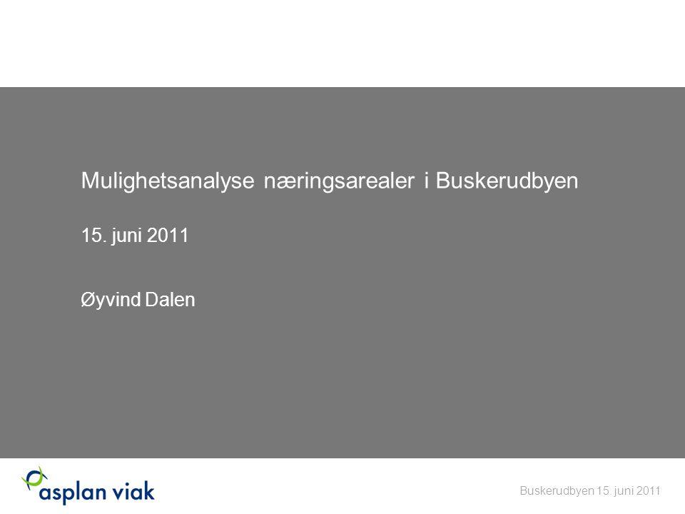 Mulighetsanalyse næringsarealer i Buskerudbyen 15. juni 2011 Øyvind Dalen Buskerudbyen 15. juni 2011