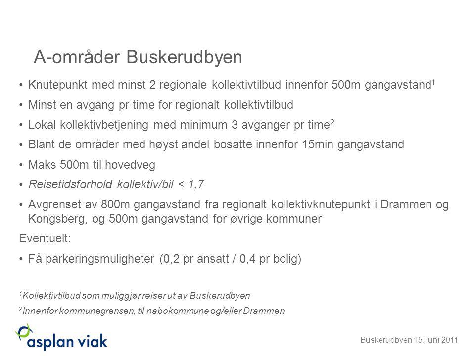 A-områder Buskerudbyen •Knutepunkt med minst 2 regionale kollektivtilbud innenfor 500m gangavstand 1 •Minst en avgang pr time for regionalt kollektivt