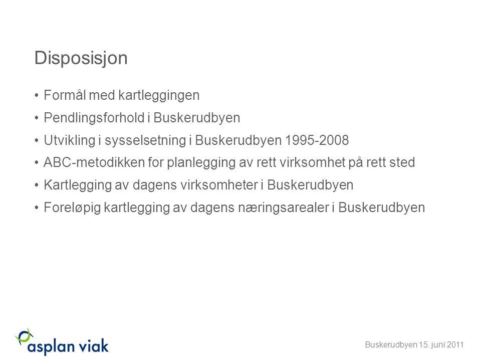 Disposisjon •Formål med kartleggingen •Pendlingsforhold i Buskerudbyen •Utvikling i sysselsetning i Buskerudbyen 1995-2008 •ABC-metodikken for planleg