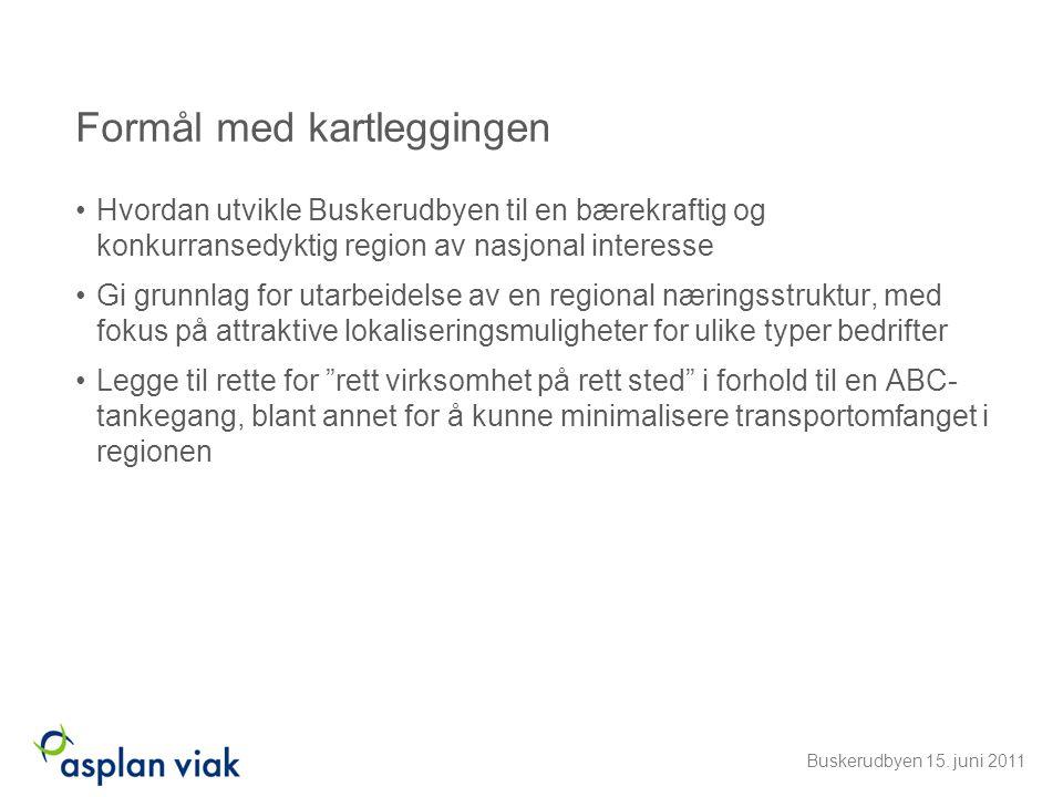 Fordeling av hovedgrupper pr kommune Buskerudbyen 15. juni 2011
