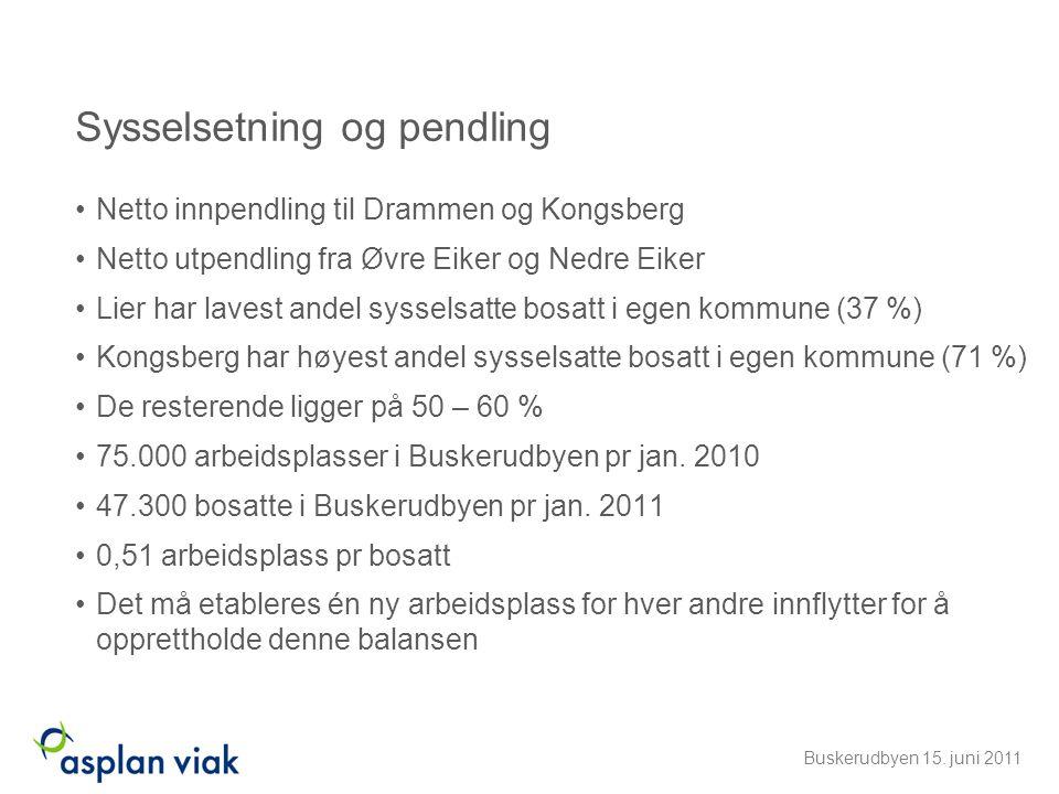 Sysselsetning og pendling •Netto innpendling til Drammen og Kongsberg •Netto utpendling fra Øvre Eiker og Nedre Eiker •Lier har lavest andel sysselsat
