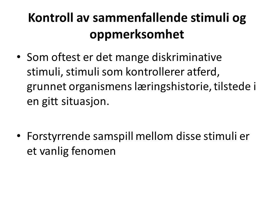 Kontroll av sammenfallende stimuli og oppmerksomhet • Som oftest er det mange diskriminative stimuli, stimuli som kontrollerer atferd, grunnet organis