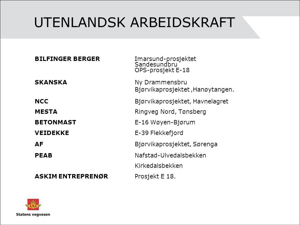 UTENLANDSK ARBEIDSKRAFT BILFINGER BERGERImarsund-prosjektet Sandesundbru OPS-prosjekt E-18 SKANSKA Ny Drammensbru Bjørvikaprosjektet,Hanøytangen. NCCB