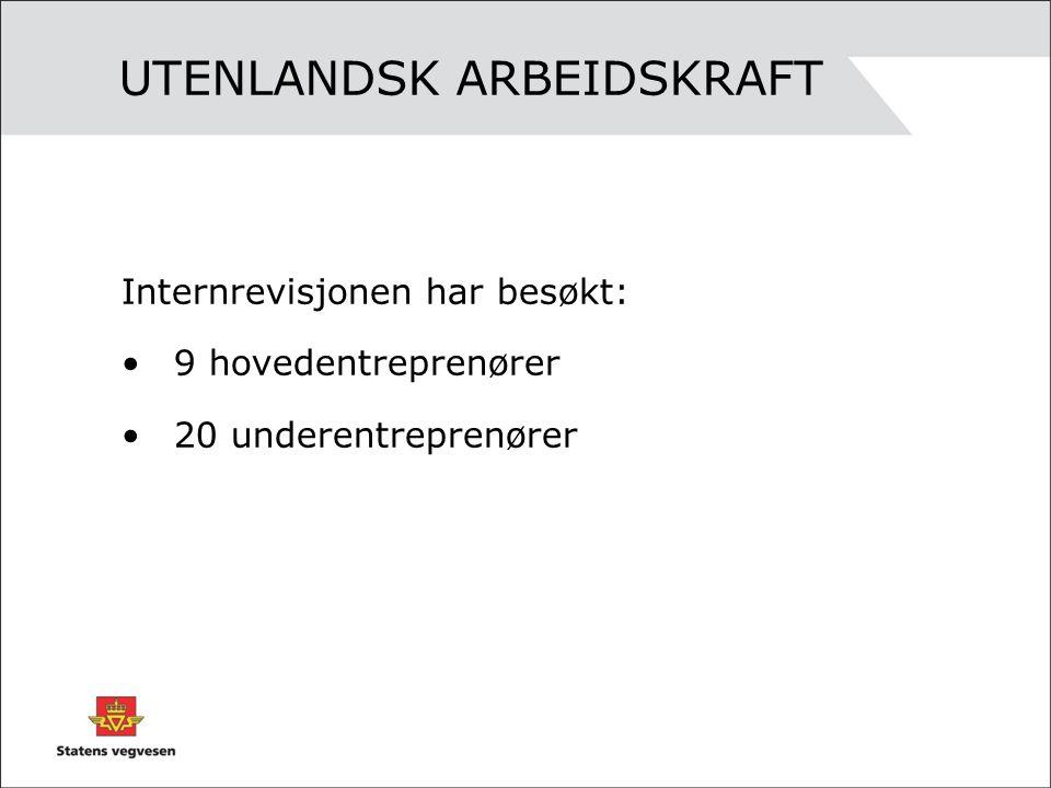 UTENLANDSK ARBEIDSKRAFT Internrevisjonen har besøkt: •9 hovedentreprenører •20 underentreprenører