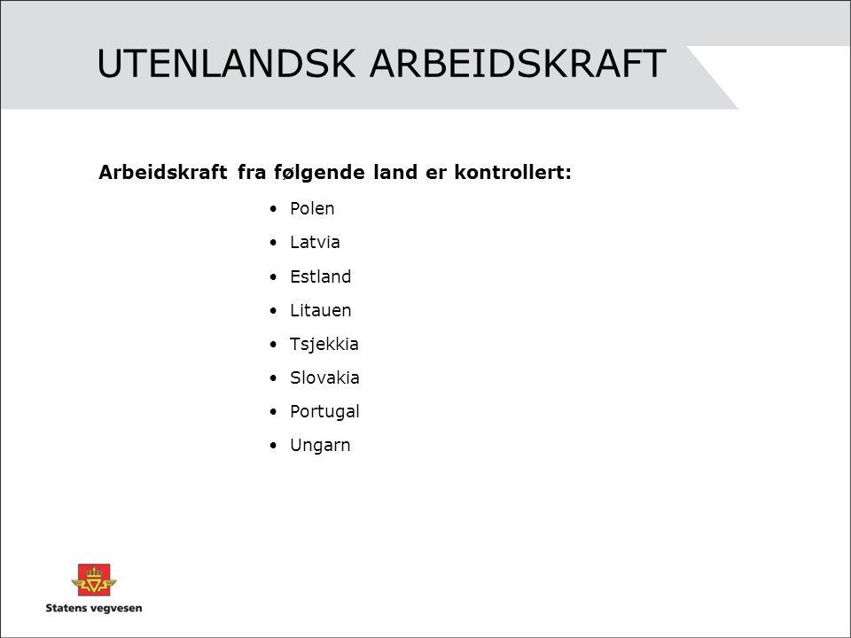 UTENLANDSK ARBEIDSKRAFT Arbeidskraft fra følgende land er kontrollert: •Polen •Latvia •Estland •Litauen •Tsjekkia •Slovakia •Portugal •Ungarn