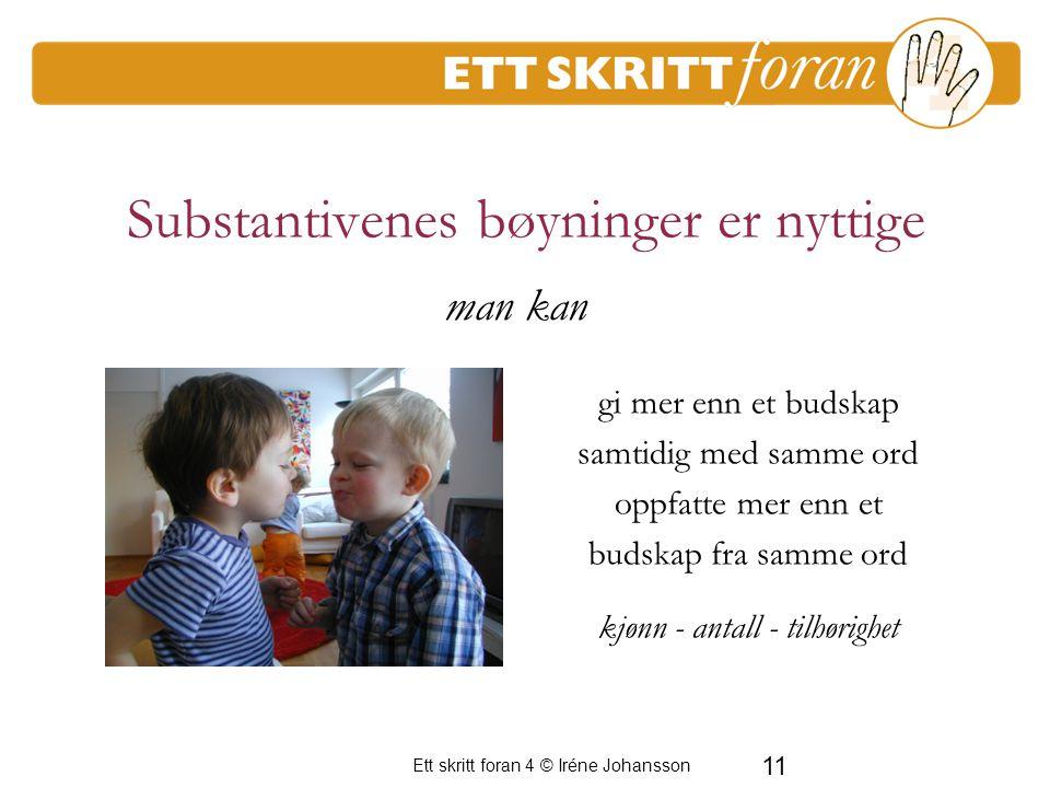 Ett skritt foran 4 © Iréne Johansson 11 Substantivenes bøyninger er nyttige gi mer enn et budskap samtidig med samme ord oppfatte mer enn et budskap f