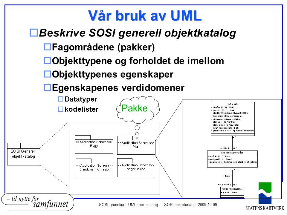 SOSI grunnkurs UML-modellering - SOSI-sekretariatet 2009-10-09 Fagområdene avhenger noen ganger av andre fagområder Avhengighet