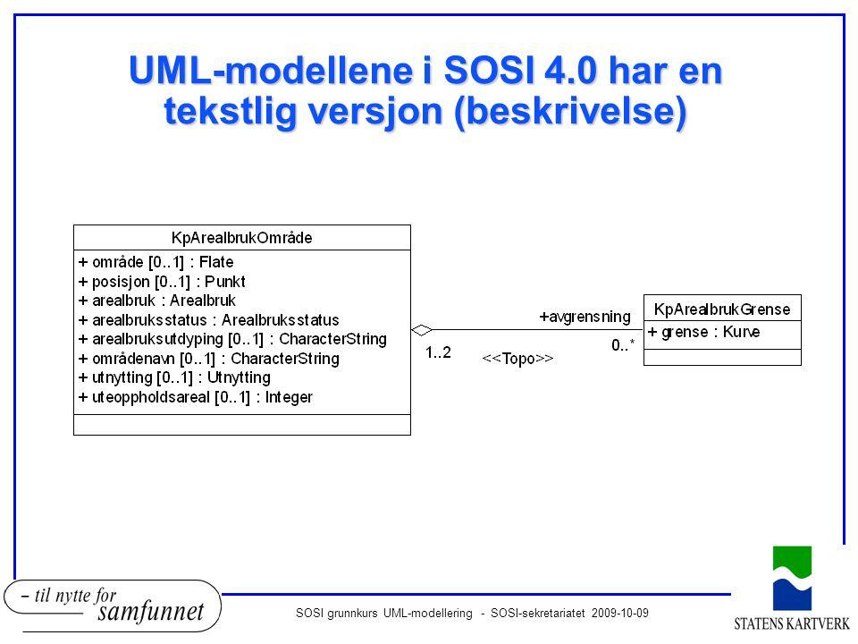 SOSI grunnkurs UML-modellering - SOSI-sekretariatet 2009-10-09 UML-modellene i SOSI 4.0 har en tekstlig versjon (beskrivelse)