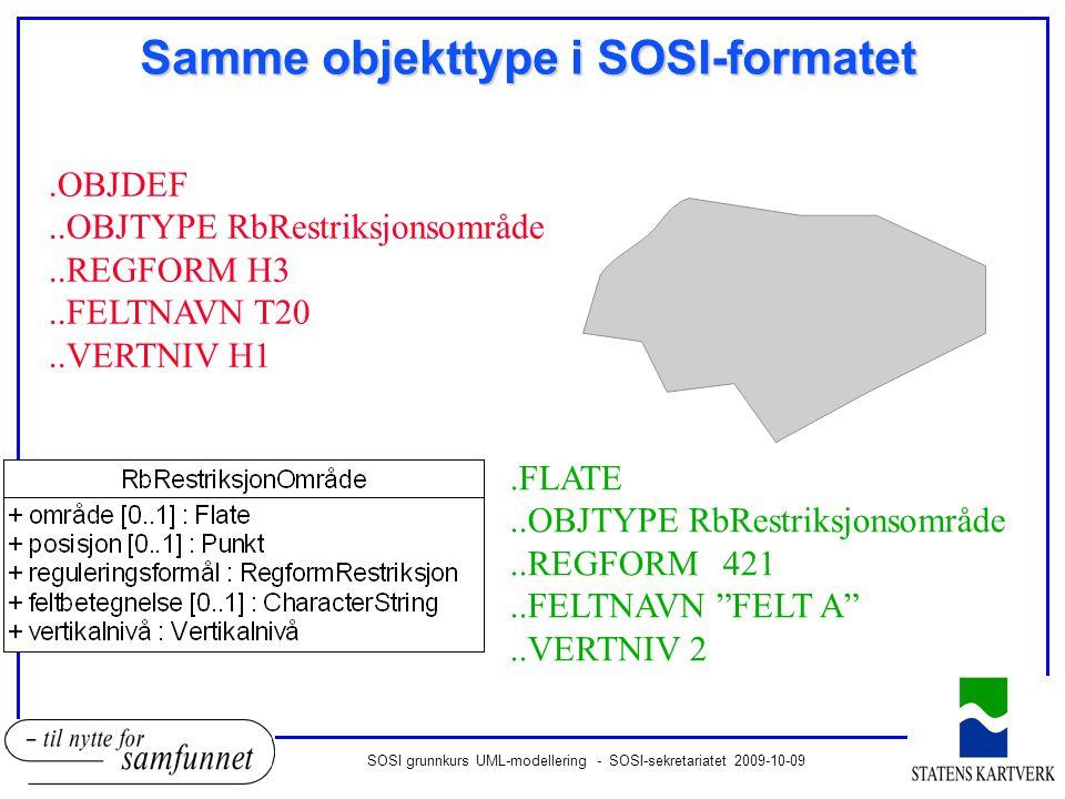 SOSI grunnkurs UML-modellering - SOSI-sekretariatet 2009-10-09 Samme objekttype i SOSI-formatet.OBJDEF..OBJTYPE RbRestriksjonsområde..REGFORM H3..FELTNAVN T20..VERTNIV H1.FLATE..OBJTYPE RbRestriksjonsområde..REGFORM421..FELTNAVN FELT A ..VERTNIV 2