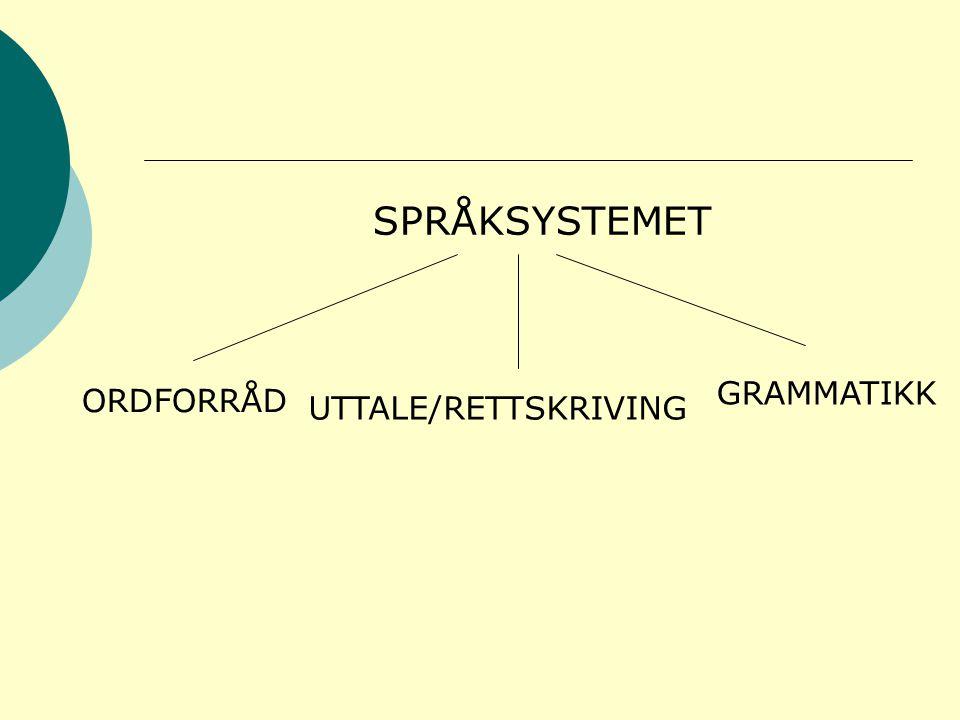 SPRÅKSYSTEMET ORDFORRÅD UTTALE/RETTSKRIVING GRAMMATIKK
