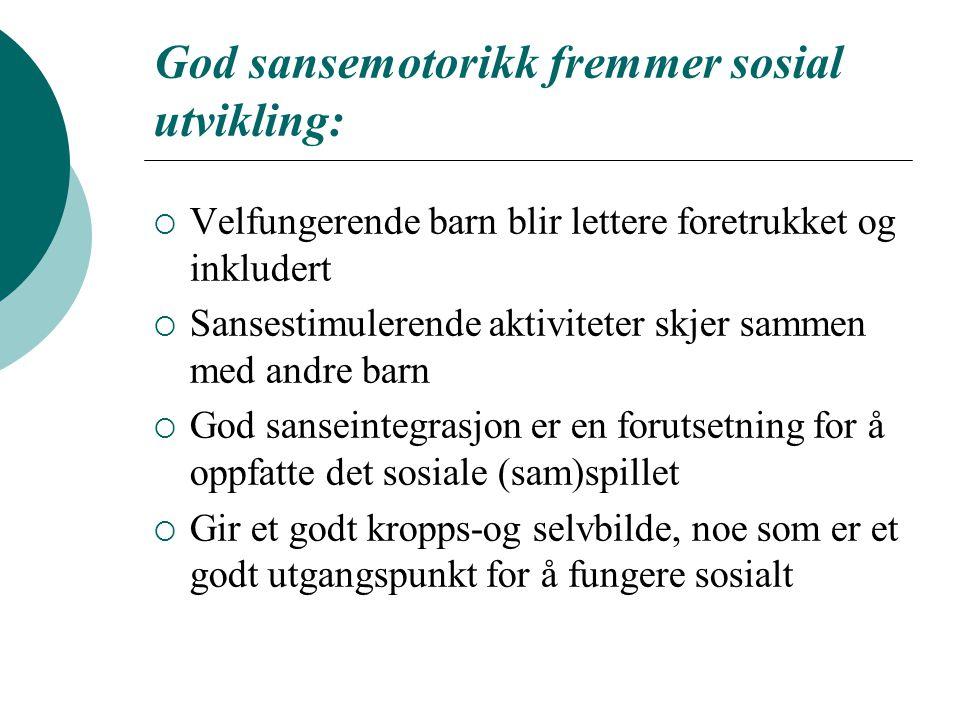 God sansemotorikk fremmer sosial utvikling:  Velfungerende barn blir lettere foretrukket og inkludert  Sansestimulerende aktiviteter skjer sammen me