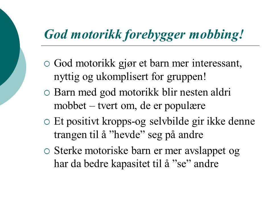 God motorikk forebygger mobbing!  God motorikk gjør et barn mer interessant, nyttig og ukomplisert for gruppen!  Barn med god motorikk blir nesten a