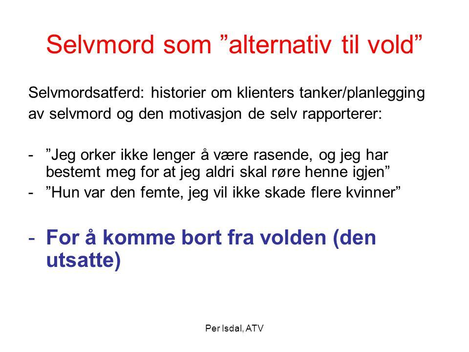 """Per Isdal, ATV Selvmord som """"alternativ til vold"""" Selvmordsatferd: historier om klienters tanker/planlegging av selvmord og den motivasjon de selv rap"""