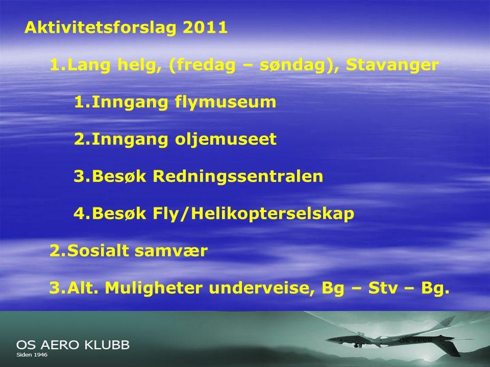 Lysark 1 Aktivitetsforslag 2011 1.Lang helg, (fredag – søndag), Stavanger 1.Inngang flymuseum 2.Inngang oljemuseet 3.Besøk Redningssentralen 4.Besøk Fly/Helikopterselskap 2.Sosialt samvær 3.Alt.