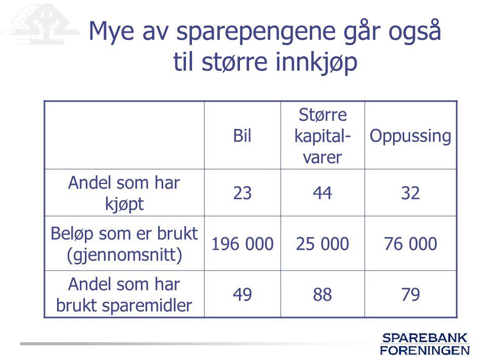 Mye av sparepengene går også til større innkjøp Bil Større kapital- varer Oppussing Andel som har kjøpt 234432 Beløp som er brukt (gjennomsnitt) 196 00025 00076 000 Andel som har brukt sparemidler 498879