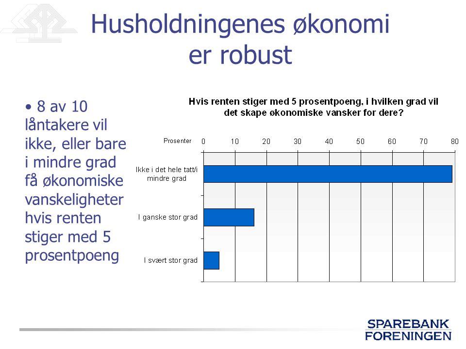 Husholdningenes økonomi er robust • 8 av 10 låntakere vil ikke, eller bare i mindre grad få økonomiske vanskeligheter hvis renten stiger med 5 prosentpoeng