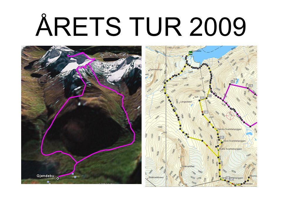 ÅRETS TUR 2009 •Fredag: –Nordre Svartdalspiggen (2137m) –Store Svartdalspiggen (2165m) –Søre Svartdalspiggen (2065) –(Søre Svartdalspiggen (2065m)) –(