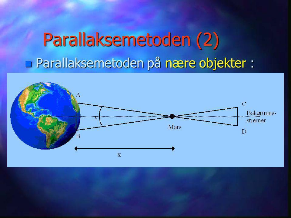 Parallaksemetoden (1) n Prinsippet for parallaksemetoden: Samme metoden brukes ved landmåling, og kalles da triangulering