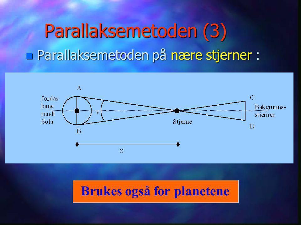 Andre alternativer i solsystemet n Radar –Brukt på Sola, Månen og alle planetene ut til Saturn. n Laser –Reflektorer på Månen (satt ut av Apollo- mann