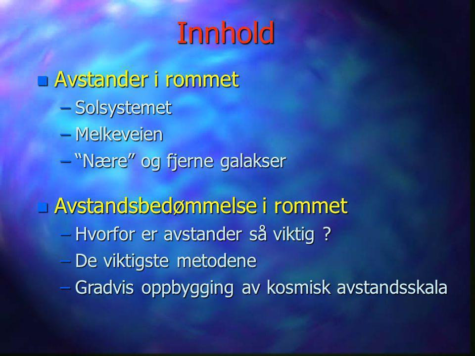 Avstander i rommet Av Stein O. Wasbø, Birger Andresen og Terje Bjerkgård