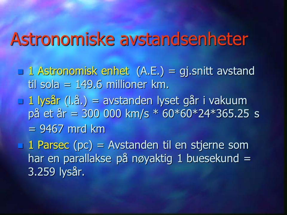 Statistisk parallakse n Velger en stor gruppe stjerner av samme type, og som antas å ligge omtrent like langt borte (F.eks. åpen stjernehop). n Måler