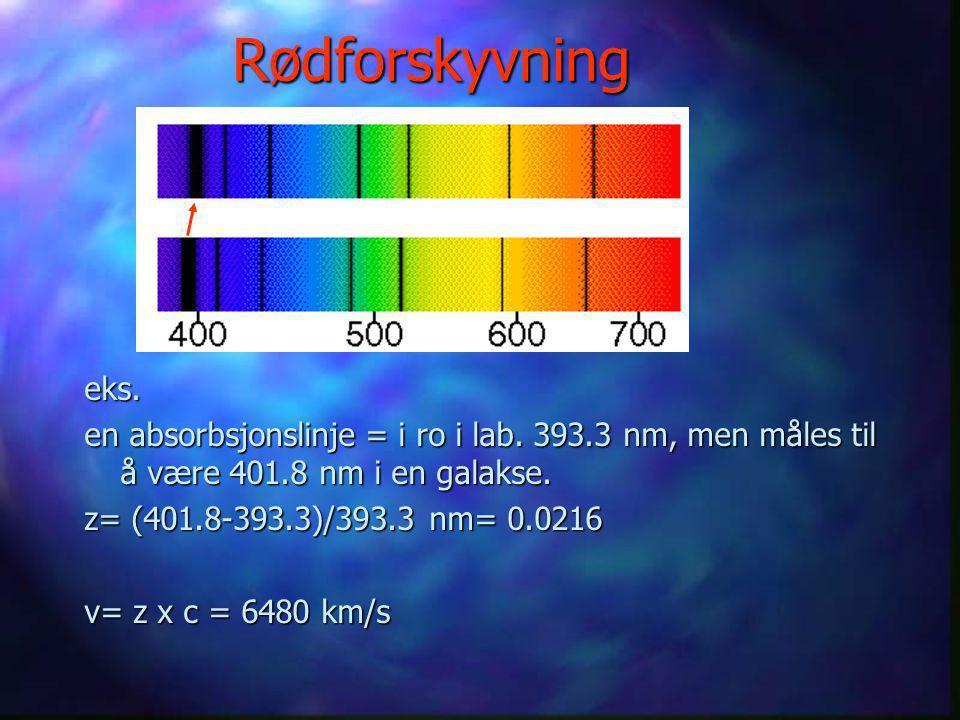 Rødforskyvning  Rødforskyvningen betegnes z og er forandringen i bølgelengde/opprinnelig bølgelengde: z= (  1 -  0 )/  0  Hastigheten v = z x c (