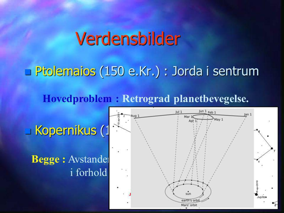 Verdensbilder n Ptolemaios (150 e.Kr.) : Jorda i sentrum n Kopernikus (1543 e.Kr) : Sola i sentrum Hovedproblem : Retrograd planetbevegelse.