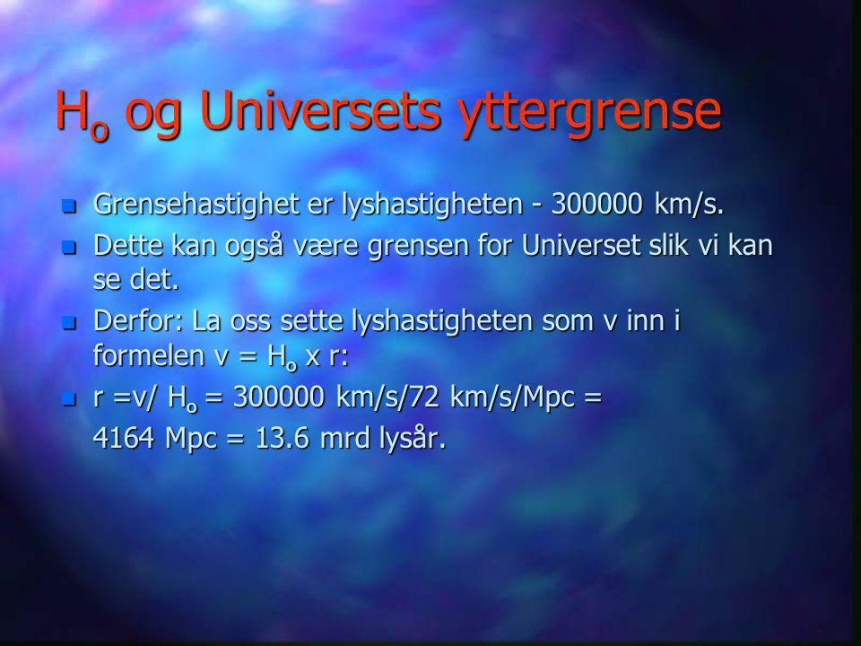 Rødforskyvning n For store hastigheter, dvs. mer enn 0.4 c må en bruke den spesielle relativitetsteorien for sammenhengen mellom rødforskyvningen og h
