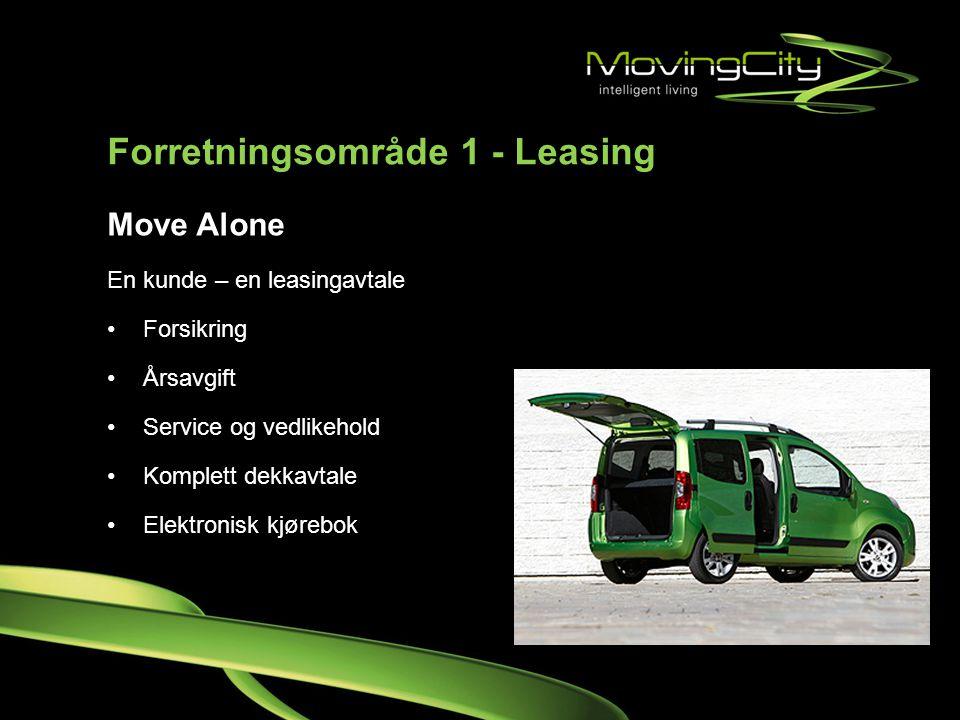 Forretningsområde 1 - Leasing Move Alone En kunde – en leasingavtale •Forsikring •Årsavgift •Service og vedlikehold •Komplett dekkavtale •Elektronisk