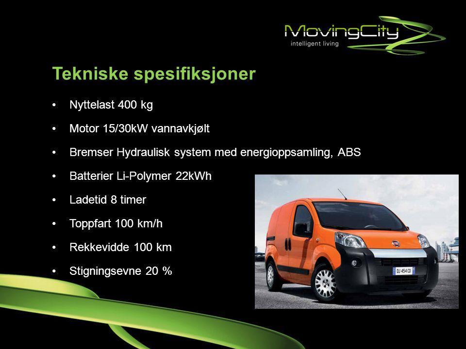 Tekniske spesifiksjoner •Nyttelast 400 kg •Motor 15/30kW vannavkjølt •Bremser Hydraulisk system med energioppsamling, ABS •Batterier Li-Polymer 22kWh