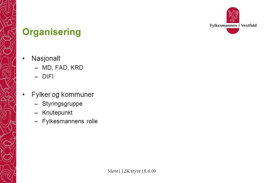 Møte i 12K styre 18.6.09 Organisering •Nasjonalt –MD, FAD, KRD –DIFI •Fylker og kommuner –Styringsgruppe –Knutepunkt –Fylkesmannens rolle