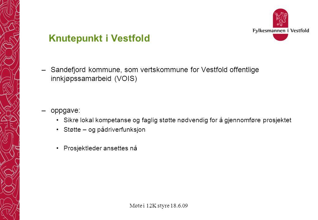 Møte i 12K styre 18.6.09 Knutepunkt i Vestfold –Sandefjord kommune, som vertskommune for Vestfold offentlige innkjøpssamarbeid (VOIS) –oppgave: •Sikre