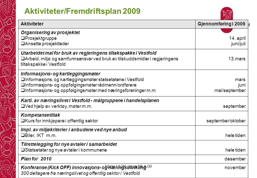 Møte i 12K styre 18.6.09 Aktiviteter/Fremdriftsplan 2009 AktiviteterGjennomføring i 2009 Organisering av prosjektet  Prosjektgruppe  Ansette prosjek