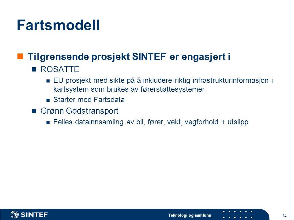 Teknologi og samfunn 14 Fartsmodell  Tilgrensende prosjekt SINTEF er engasjert i  ROSATTE  EU prosjekt med sikte på å inkludere riktig infrastruktu