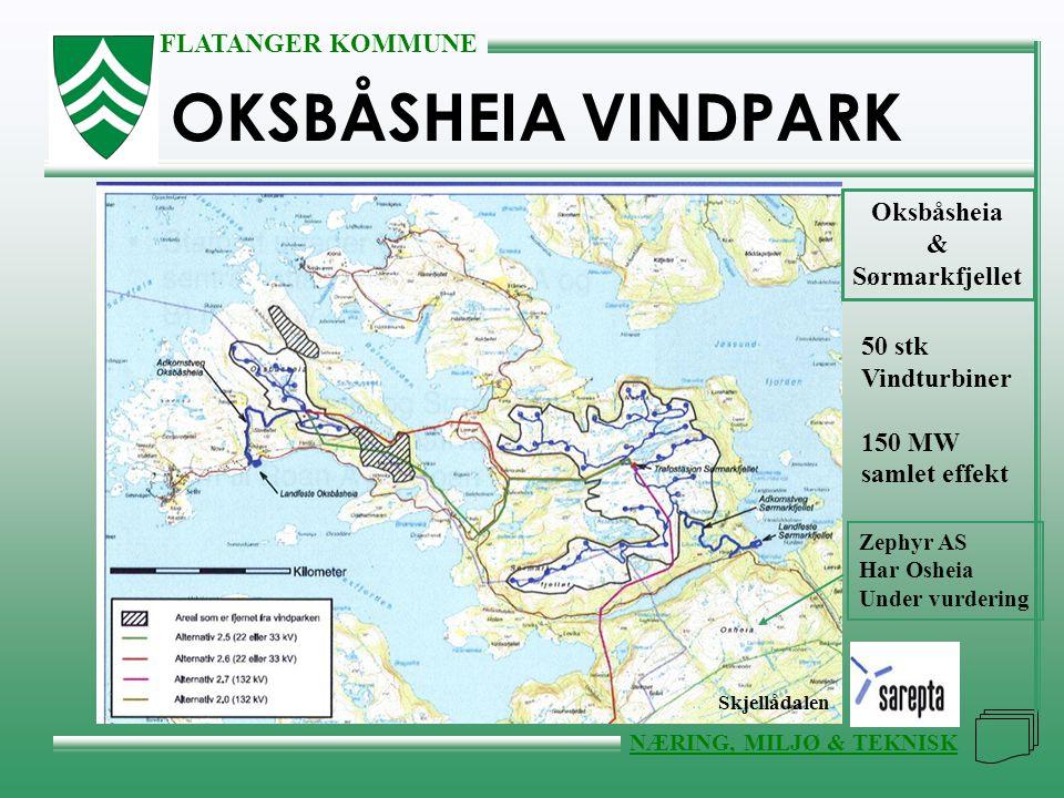 FLATANGER KOMMUNE NÆRING, MILJØ & TEKNISK OKSBÅSHEIA VINDPARK Oksbåsheia & Sørmarkfjellet 50 stk Vindturbiner 150 MW samlet effekt Zephyr AS Har Oshei