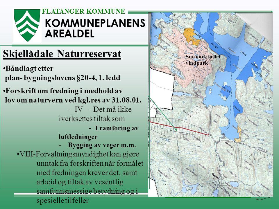 FLATANGER KOMMUNE NÆRING, MILJØ & TEKNISK KOMMUNEPLANENS AREALDEL Skjellådale Naturreservat •Båndlagt etter plan- bygningslovens §20-4, 1. ledd •Forsk