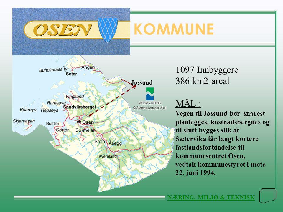 FLATANGER KOMMUNE NÆRING, MILJØ & TEKNISK KOMMUNE Jøssund 1097 Innbyggere 386 km2 areal MÅL : Vegen til Jøssund bør snarest planlegges, kostnadsbergne