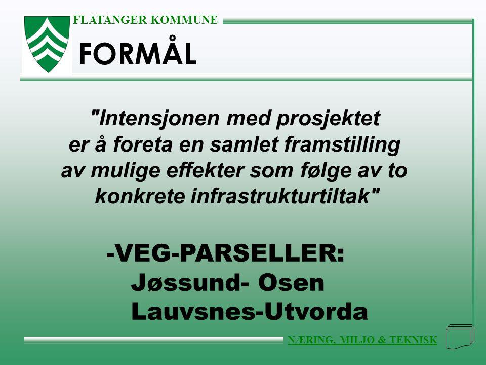 FLATANGER KOMMUNE NÆRING, MILJØ & TEKNISK FORMÅL Intensjonen med prosjektet er å foreta en samlet framstilling av mulige effekter som følge av to konkrete infrastrukturtiltak -VEG-PARSELLER: Jøssund- Osen Lauvsnes-Utvorda