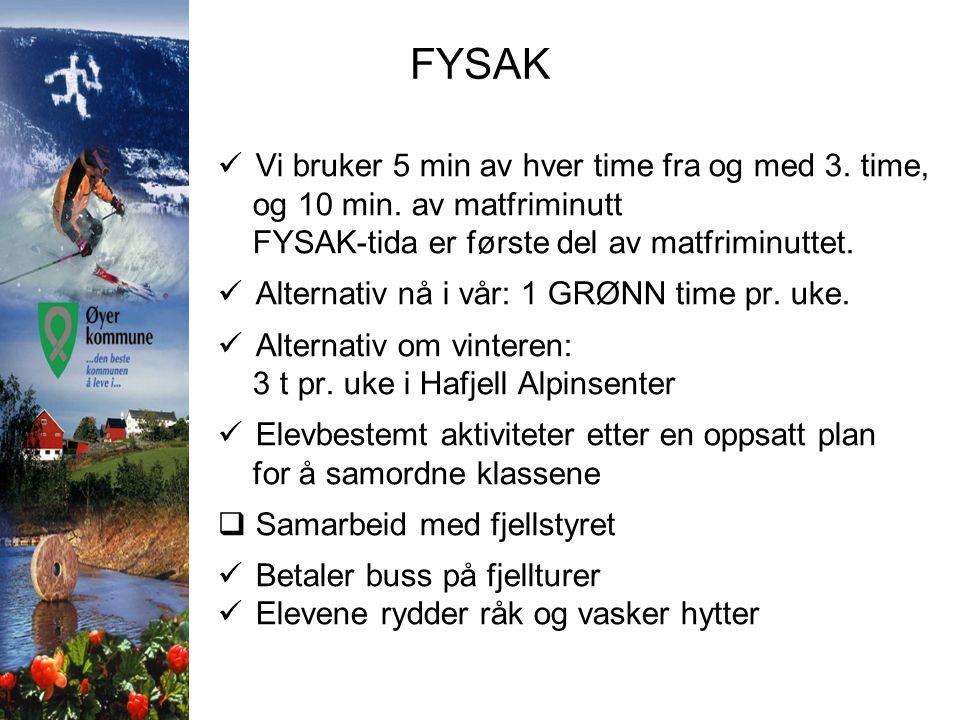 FYSAK  Vi bruker 5 min av hver time fra og med 3. time, og 10 min. av matfriminutt FYSAK-tida er første del av matfriminuttet.  Alternativ nå i vår: