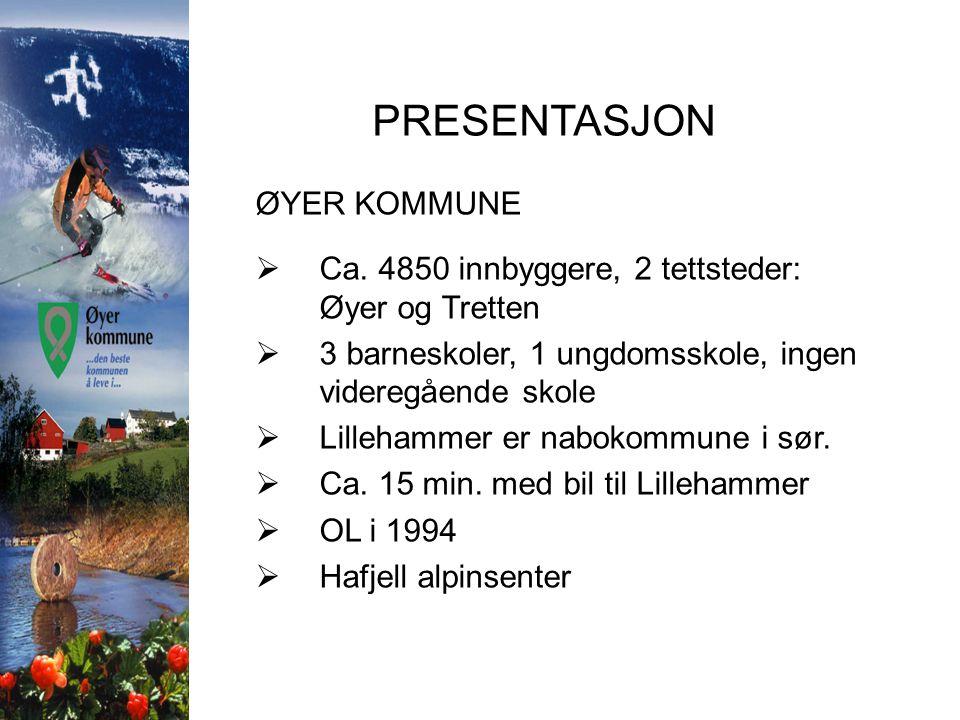 PRESENTASJON ØYER KOMMUNE  Ca. 4850 innbyggere, 2 tettsteder: Øyer og Tretten  3 barneskoler, 1 ungdomsskole, ingen videregående skole  Lillehammer