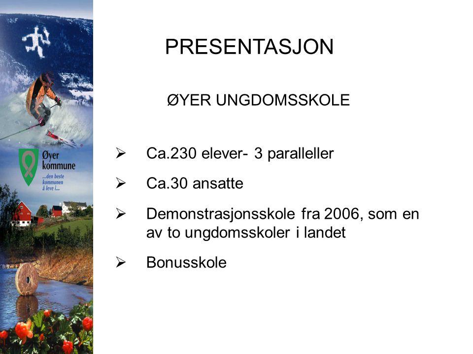 PRESENTASJON ØYER UNGDOMSSKOLE  Ca.230 elever- 3 paralleller  Ca.30 ansatte  Demonstrasjonsskole fra 2006, som en av to ungdomsskoler i landet  Bo