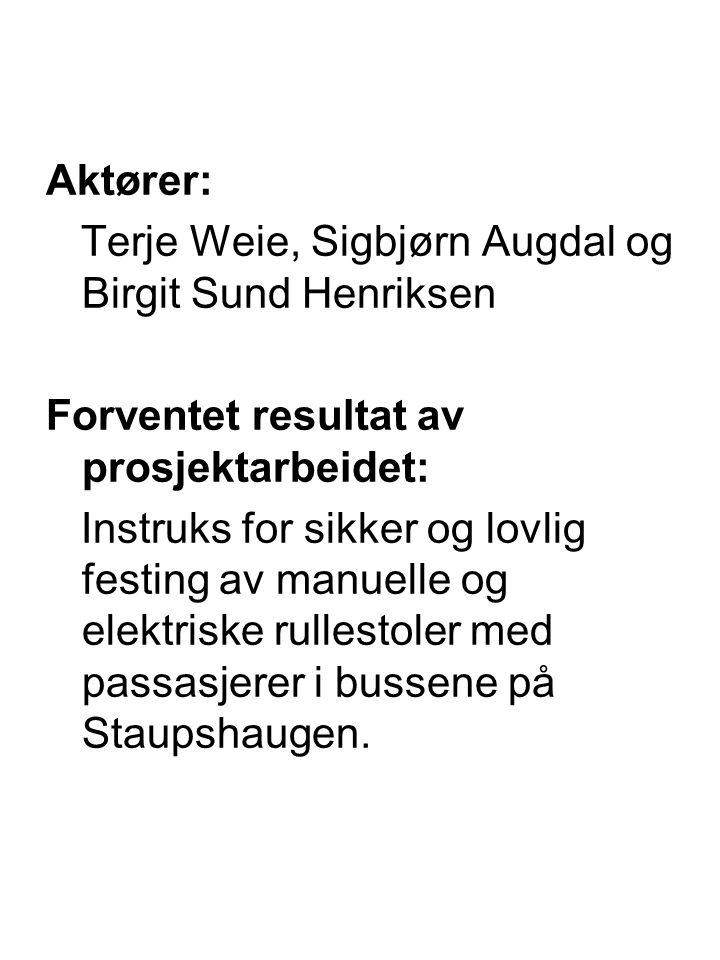 Aktører: Terje Weie, Sigbjørn Augdal og Birgit Sund Henriksen Forventet resultat av prosjektarbeidet: Instruks for sikker og lovlig festing av manuelle og elektriske rullestoler med passasjerer i bussene på Staupshaugen.