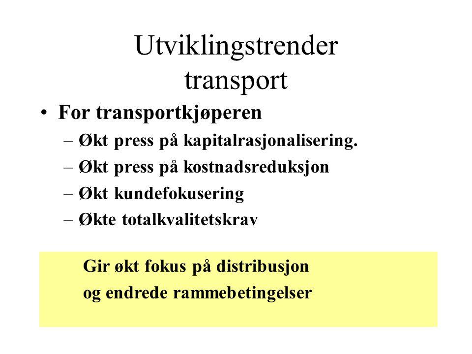 Utviklingstrender transport •For transportkjøperen –Økt press på kapitalrasjonalisering. –Økt press på kostnadsreduksjon –Økt kundefokusering –Økte to