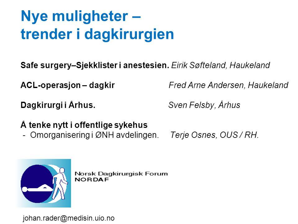 Nye muligheter – trender i dagkirurgien Safe surgery–Sjekklister i anestesien. Eirik Søfteland, Haukeland ACL-operasjon – dagkir Fred Arne Andersen, H