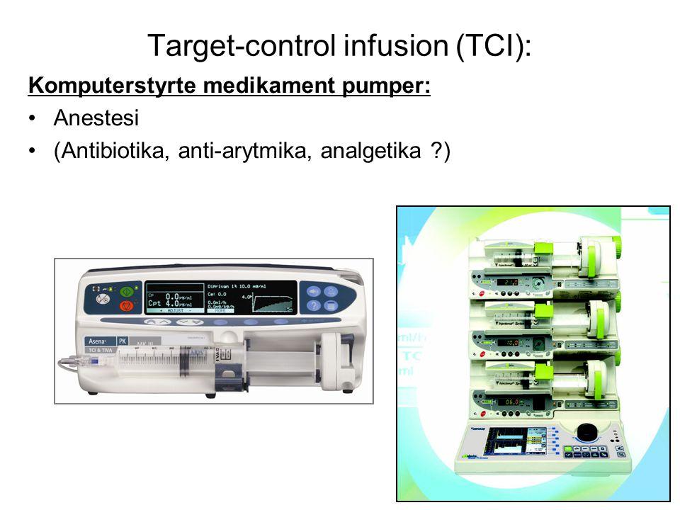Target-control infusion (TCI): Komputerstyrte medikament pumper: •Anestesi •(Antibiotika, anti-arytmika, analgetika ?)