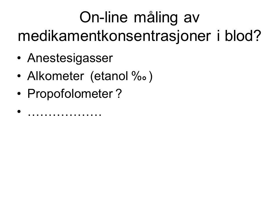 On-line måling av medikamentkonsentrasjoner i blod? •Anestesigasser •Alkometer (etanol % o ) •Propofolometer ? •………………