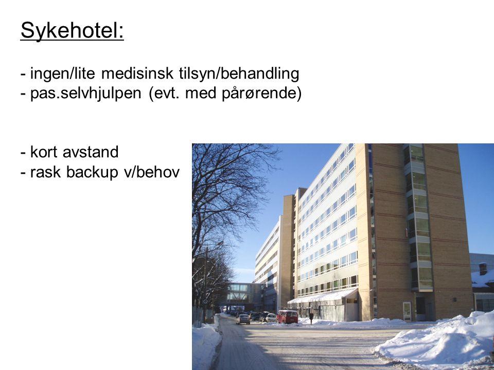 Sykehotel: - ingen/lite medisinsk tilsyn/behandling - pas.selvhjulpen (evt. med pårørende) - kort avstand - rask backup v/behov